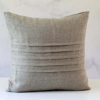 Linen pillow with decorative sewn lines - decorative covers - pillow case - throw pillows - shams - cushion cover custom size   0295