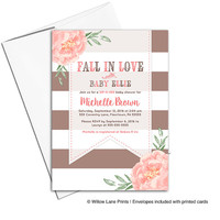 Fall baby shower invitations for girls | Autumn baby shower ideas | sip and see invites for girl | coral, brown fall invites - WLP00799