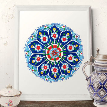 Traditional Ottoman Flower Watercolor Wall Art, Turkish Ornamental Iznik Plate Design Decor, Vintage Floral Prints and Original Painting 057