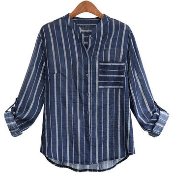 Autumn Female Casual Blouse Stripe Designed Long  Sleeve Polo Collar Shirt Plus Size = 1667482372