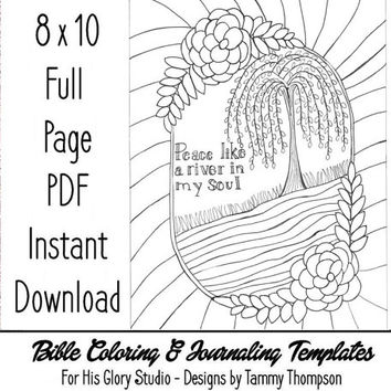 Peace Like A River - bible journaling, adult coloring, bible verse, full page printable, instant download, coloring page, handdrawn