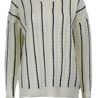 Prep for Success Cable Knit Sweater - White/Navy