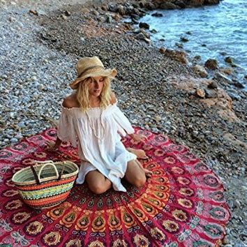 Indian Mandala Round Roundie Beach Throw Tapestry Hippy Boho Gypsy Cotton Tablecloth Beach Towel , Round Yoga Mat[4970271556]