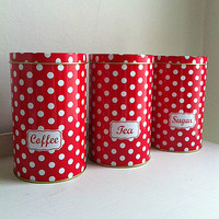 Retro Polkadot Tea, Coffee & Sugar Tins