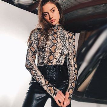 DCCKH3L Women Fashion Snake Print Bodycon Turtleneck Long Sleeve T-shirt Bodysuit