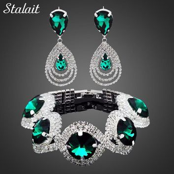 STALAIT Women's Fashion Rhinestone Colorful Crystal Jewelry Sets
