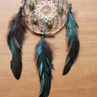 Boho Dream Catcher with Agate and Aventurine // Hippie Home Decor