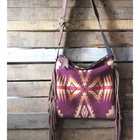 Plum and Tan Wool bag with Leather Fringe