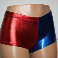 Harley Quinn Suicide Squad Inspired Cosplay Red and Blue Metallic Mid-Rise CHEEKY or REGULAR Booty Shorts! Adult, Child, and Plus Sizes
