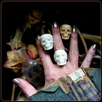 Human Skull Ring carved from real bone. Oddity Witchy Occult Jewelry. Witchcraft Pagan Wiccan Wedding Ring Handfasting, Coven Wedding Favor