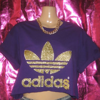 customised unique glitter adidas crop top hipster festival swag ibiza