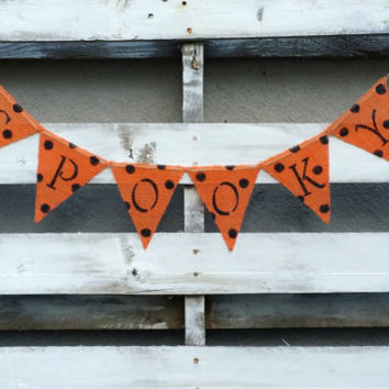Spooky Burlap Banner with Glitter, Halloween Banner, Halloween Decor, Halloween Photo Prop, Halloween Wedding Decor