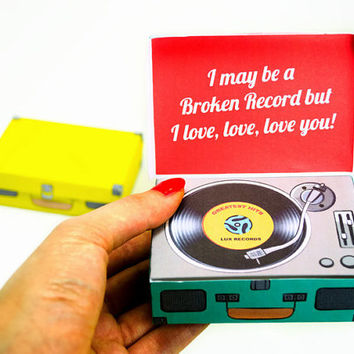 Printable Retro Record Player Gift Boxes, Gift Card Holder, DIY Gift wrap