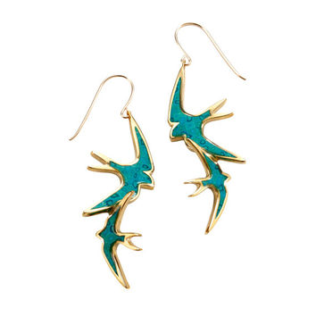Gold Turquoise Bird Earrings - Handmade Millefiori Jewelry - Israeli Designer - FREE SHIPPING