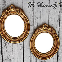 Vintage Home Interior Mirror set // Oval vintage frames // Vintage mirrors // bathroom decor // bedroom decor // picture grouping
