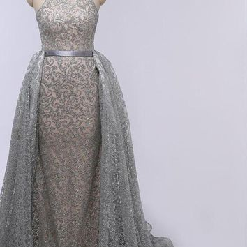 Grey Mermaid Luxury Sexy Evening Dresses Sleeveless Sequined Sparkly Evening Gowns