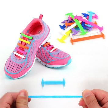 Creative Children Shoelaces Sport Athletic No Tie Shoelaces Child Shoes Laces Lazy Ela