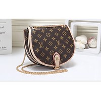 LV Fashion Hot Selling Lady's Full Print Coloured Single Shoulder Bag Apricot