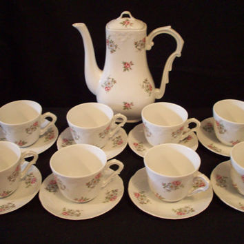 Vintage Tea Set, Princess House Porcelain Tea Set, Rose Garden Pattern