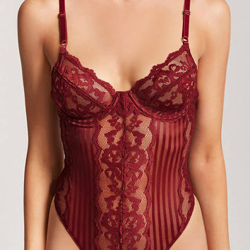 Lace Shadow-Stripe Teddy