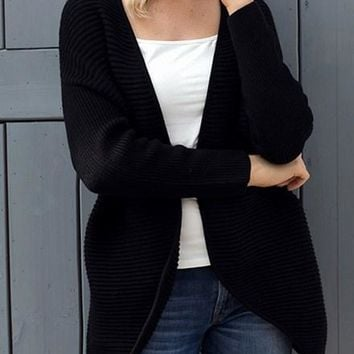 Black Ribbed Knit Lace Up Back Sweater Cardigan For Women