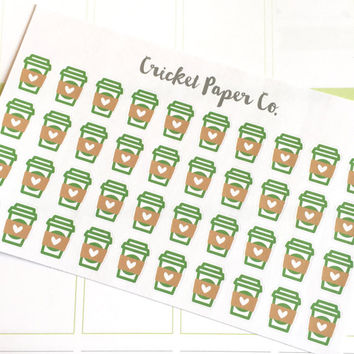 Coffee Cup Stickers, Espresso Stickers, Erin Condren Planner Stickers, Functional Stickers, ECLP, Filofax, Kikki K