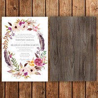 Bohemian Wedding Invitation, Pink, Magenta, Blush, Feathers, Floral, Spring, Fall, Woodland, Rustic, Vintage, Printable