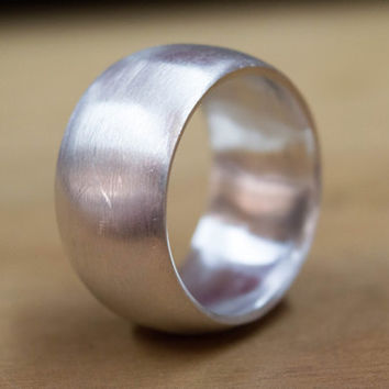 Wide Band Sterling Silver Ring Mens Uni