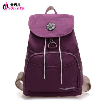 JINQIAOER Brand Nylon Backpack Waterproof Women Knapsack Drawstring String Backpack Girl Student School Bag For Laptop Mochilas