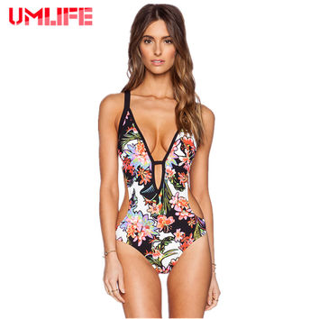 Retro Floral Print Bandage One Piece Swimsuit Backless Monokini Bathing Suit
