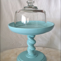 petite cake stand and cloche cheese plate art by ThinkOldThinkNew