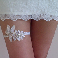 Ivory gold wedding garter belt