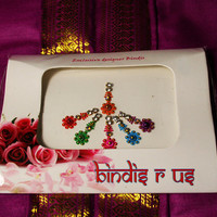 6 Floral Bindis Jewels in Crystal and Golden Beads.