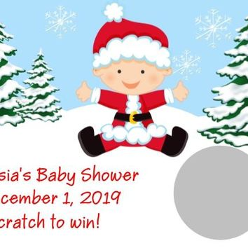 10 Christmas Baby Shower Scratch Off Cards Boy