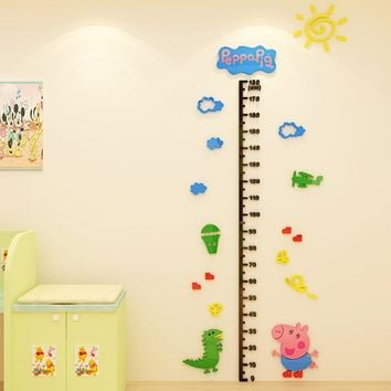 Piggy Paige 3D stereo wall height of children room decoration cartoon stickers kindergarten baby measuring height rule