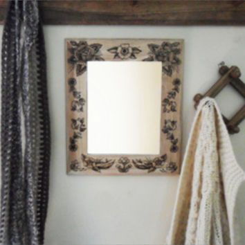 Wood burned mirror frame by AngryBadgerCrafts on Etsy