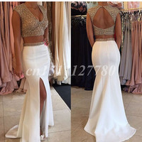 Hot Sexy White Satin Two Piece Prom Dress 2016 Beading High Split Deep V-neck Prom Gowns Evening Dresses Backless Sweep Train