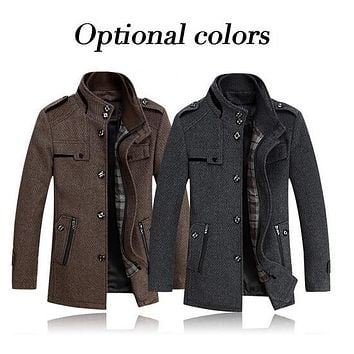 new 2014 Autumn winter Slim woolen jacket male high quality stand collar medium-long casual wool coat Men Woolen Overcoat H1922