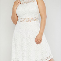 Plus Size Lace Skater Dress with High Scalloped Neck
