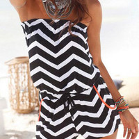 Summer Chevron Printed Pocket Off Shoulder Tube Rompers