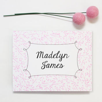 Custom Stationery Light Pink Floral Stationary Cherry Blossom Personalized Girly Shabby Chic Note Cards Hostess Bridesmaid Gifts / Set of 10