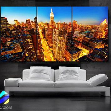 "LARGE 30""x 60"" 3 Panels Art Canvas Print Beautiful Manhattan skyline New York  City NY Wall Home (Included framed 1.5"" depth)"