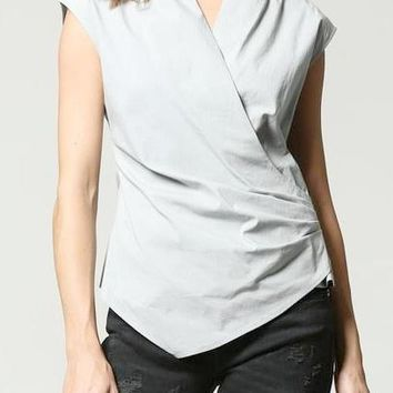 Jo Stretch Cotton Wrap Top