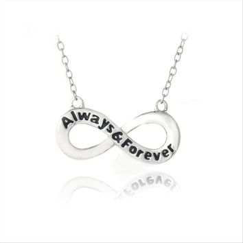 Sterling Silver ALWAYS & FOREVER Infinity Polished Necklace
