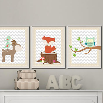 Baby woodland wall art prints Woodland Nursery art Woodland forest animal Deer Fox Owl  - set of 3 prints - H326