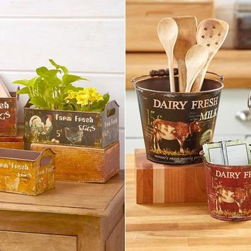 Set of 3 Country Farmhouse Buckets or Bins Functional Storage Farm Themed
