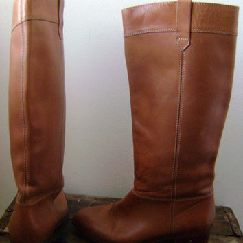 Vintage 1980s Ladies Campus Boots Size 7 1/2 Kinney Shoes Brown Leather Accessories Hipster Boho Tall Equestrian Western Hippie Festival