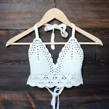 final sale - bohemian crochet crop top - white