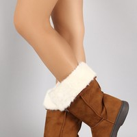 Bamboo Suede Fur Cuff Mid Calf Winter Boots