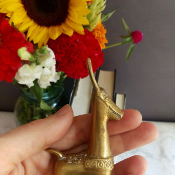 Brass Llama Figurine/ Vintage Brass Llama/ Llama Statue/ Vintage Brass Decor/ Small Gold figurine/ Brass Alpaca/ Peruvian Decor